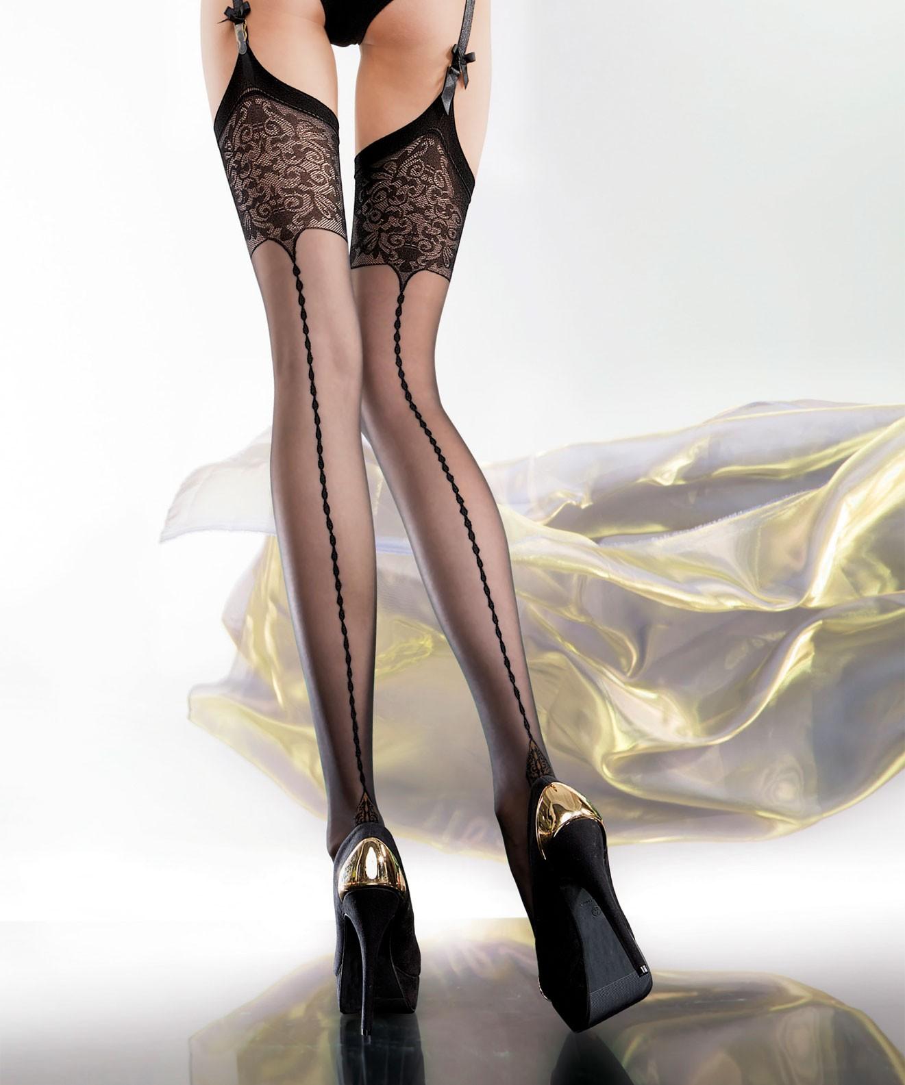 Fiore bas pour porte jarretelles edvige orvelys lingerie - Collants porte jarretelle ...